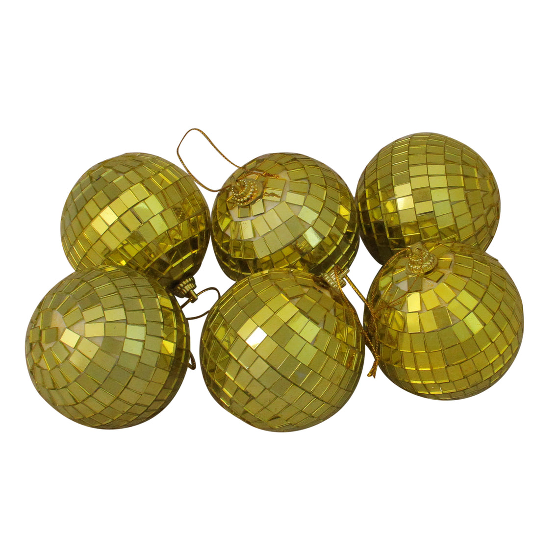 6ct Mirrored Glass Disco Ball Christmas Ornaments