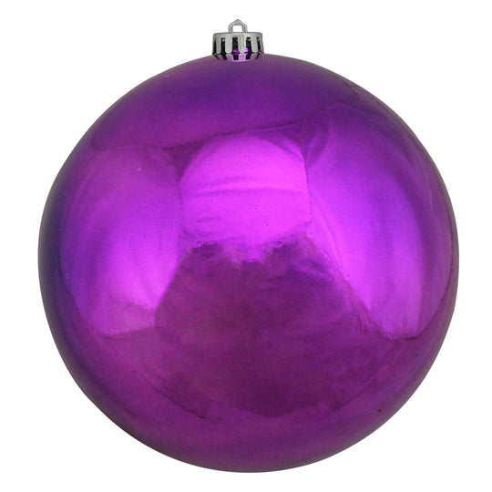 "Purple Shatterproof Shiny Commercial Size Christmas Ball Ornament 8"" (200Mm)"