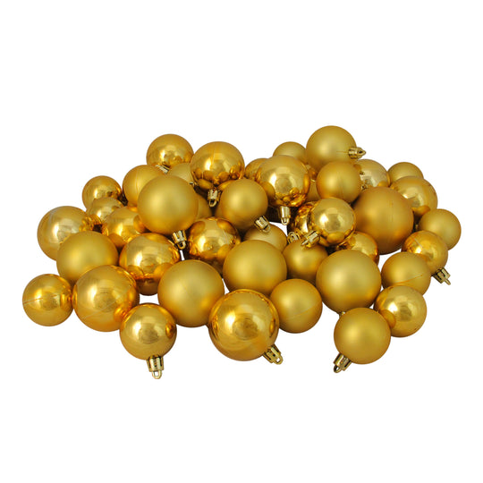 "Northlight Lj35146-50Ct Vegas Gold Shatterproof Shiny And Matte Christmas Ball Ornaments 1.5""-2"""