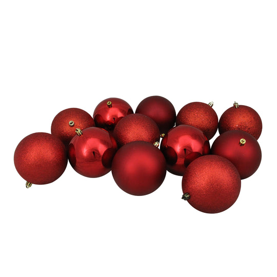 "Northlight Lj35159-12Ct Red Hot Shatterproof 4-Finish Christmas Ball Ornaments 4"" (100Mm)"