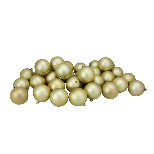"32Ct Champagne Gold Shatterproof Matte Christmas Ball Ornaments 3.25"" (80Mm)"