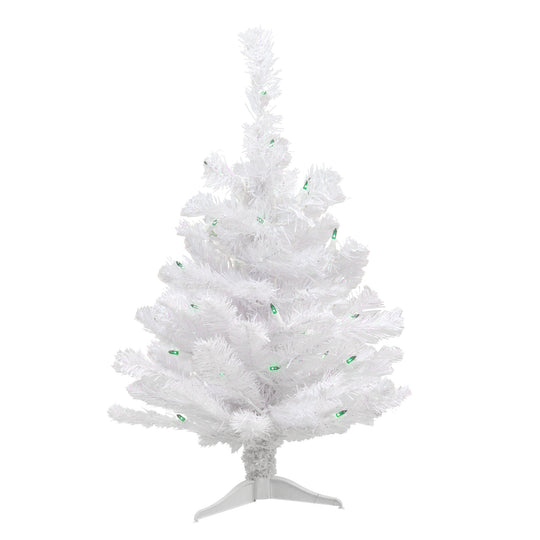 2' Pre-lit White Iridescent Pine Artificial Christmas Tree - Green Lights