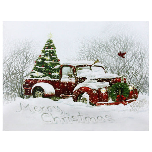 LED Fiber Optic Red Truck and Tree Christmas Canvas Wall Art 15.75