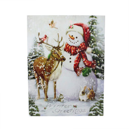 LED Lighted Snowman and Bird Friends Christmas Canvas Wall Art 15.75