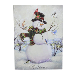 LED Lighted Vintage Inspired Snowman and Reindeer Christmas Canvas Wall Art 15.75