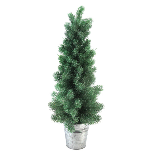 "25"" Iced Mini Pine Artificial Christmas Tree in Galvanized Bucket"