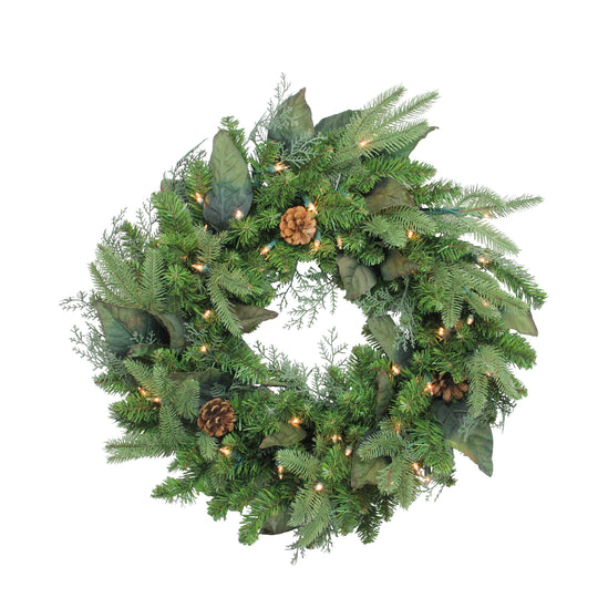 Pre-Lit Mixed Winter Pine Artificial Christmas Wreath - 24 Inch  Clear Lights
