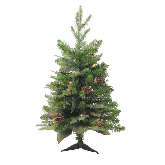 2.5' Pre-Lit Mixed Winter Pine Artificial Christmas Tree - Clear Lights