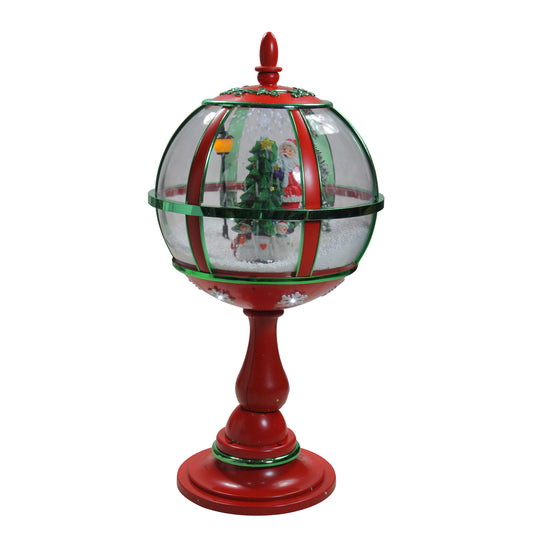 "23.5"" Lighted Red and Green Musical Snowing Santa with Christmas Tree Table Top Street Lamp"