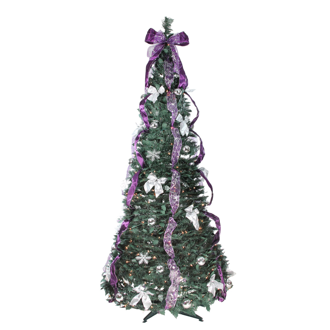 6' Pre-Lit Purple and Silver Decorated Pop-Up Artificial Christmas Tree - Clear Lights