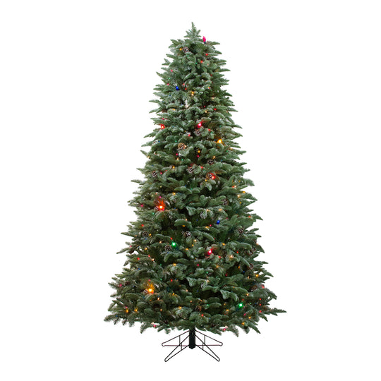 7.5' Pre-Lit Frosted Dunton Spruce Slim Artificial Christmas Tree - Multi Lights