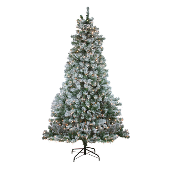 "7.5' x 57"" Pre-Lit Flocked Winema Pine Artificial Christmas Tree - Clear Lights"