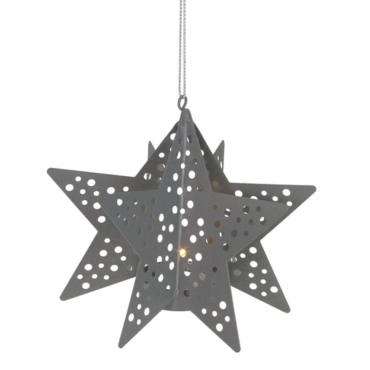 "5"" Pre-lit Gray Cut Out Metal Star Christmas Ornament"