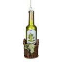 "Load image into Gallery viewer, 6.25"" Green Wine Bottle In Basket With Grapes Glass Christmas Ornament"