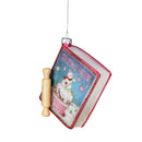 "Load image into Gallery viewer, 4"" Red And Blue Glittered ""Christmas Recipes"" Glass Book Ornament"