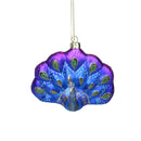 "Load image into Gallery viewer, 4.25"" Regal Peacock Blue And Purple Glittered Glass Peacock Christmas Ornament"