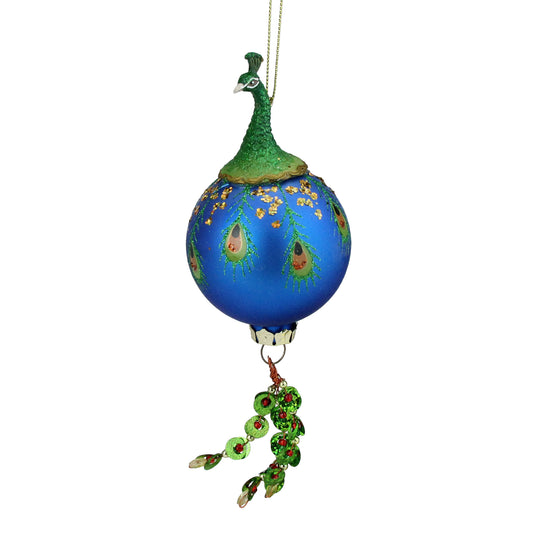 "8.5"" Green And Royal Blue Peacock Bird Glass Ball With Dangle Christmas Ornament"