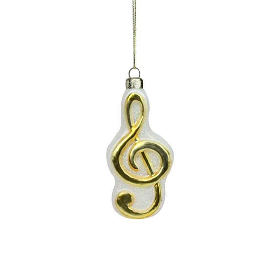 "4"" Metallic Gold And Glittered White Treble Clef Note Music Symbol Glass Christmas Ornament"