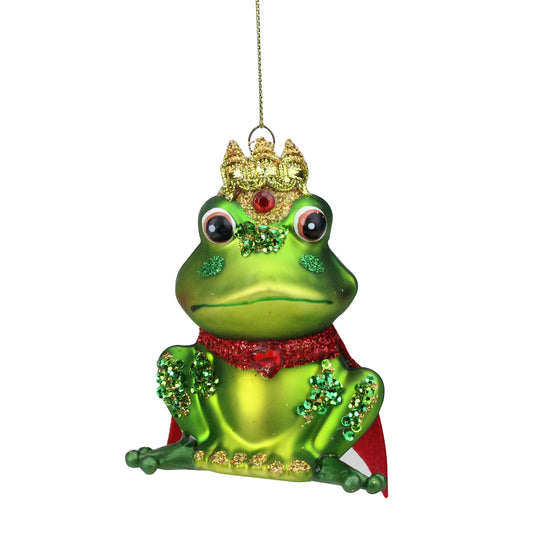 4.25'' Glittered Green And Red Glittered King Frog Glass Christmas Ornament
