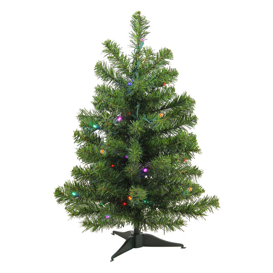 2' Pre-Lit LED Canadian Pine Artificial Christmas Tree - Multi Lights