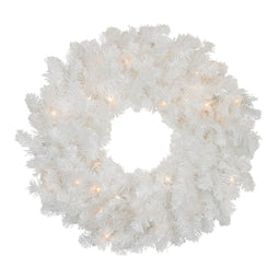 Pre-Lit Snow White Artificial Christmas Wreath - 24-Inch  Clear Lights