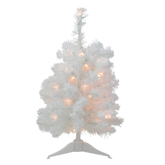 "18"" Pre-Lit Snow White Artificial Christmas Tree - Clear Lights"