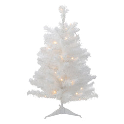 3' B/O Pre-Lit LED White Pine Artificial Christmas Tree - Clear Lights