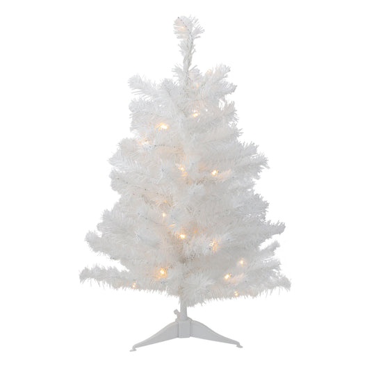2' Pre-Lit LED Snow White Artificial Christmas Tree - Candlelight Lights