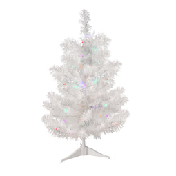 2' Pre-Lit LED Snow White Artificial Christmas Tree - Multi Lights