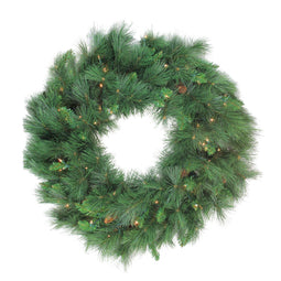Pre-Lit White Valley Pine Artificial Christmas Wreath - 24-Inch  Clear Lights