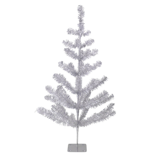 3' Silver Tinsel Pine Artificial Christmas Twig Tree - Unlit