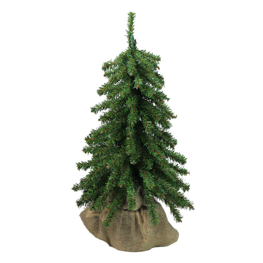 "15"" Downswept Mini Village Pine Artificial Christmas Tree in Burlap Base - Unlit"