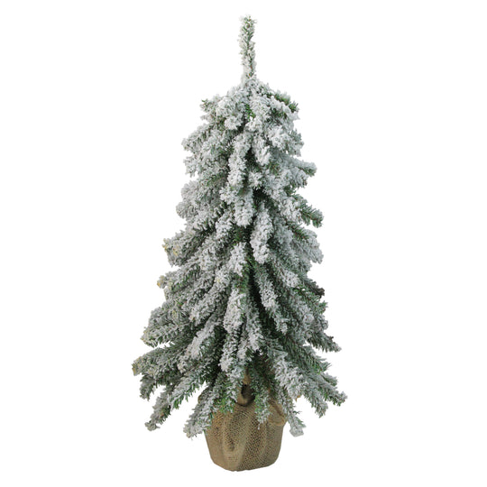 "18"" Flocked Downswept Mini Village Pine Artificial Christmas Tree in Burlap Base - Unlit"