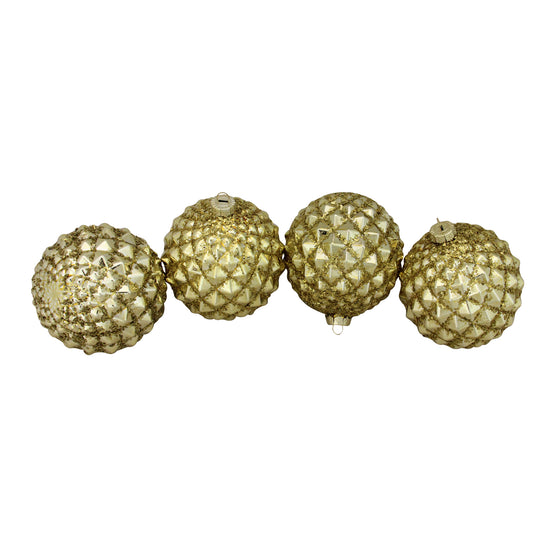"4ct Gold Glitter Flake Christmas Glass Ball Ornaments 4"" (100mm)"