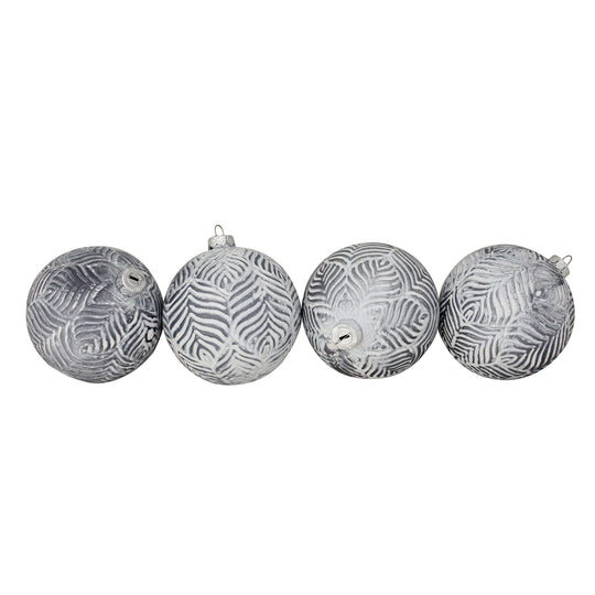"4ct Pewter Silver and White Antique Style Glass Ball Christmas Ornaments 4"" (100mm)"