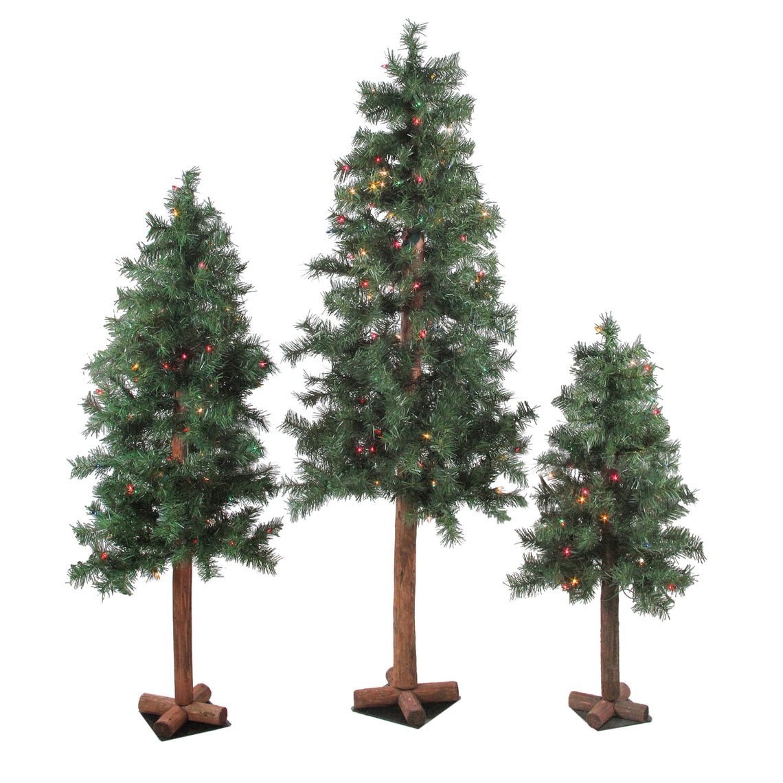 Set of 3 Pre-Lit Woodland Alpine Artificial Christmas Trees 3'  4' and 5' - Multi Lights
