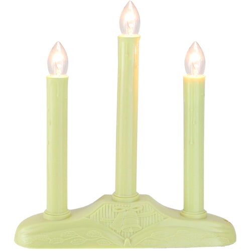 3-Light Christmas Candolier with Candles on Holly Berry and Bell Base Candle Lamp