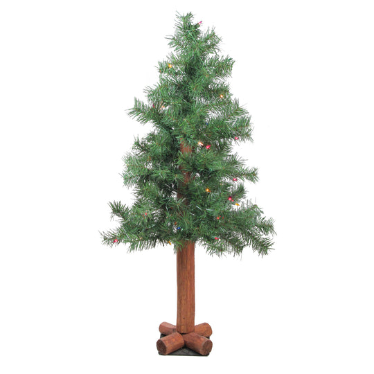 "3' x 19""  Pre-Lit Woodland Alpine Artificial Christmas Tree - Multi Lights"