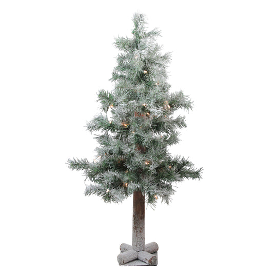 "3' x 19""  Pre-Lit Lightly Flocked Woodland Alpine Artificial Christmas Tree - Clear Lights"