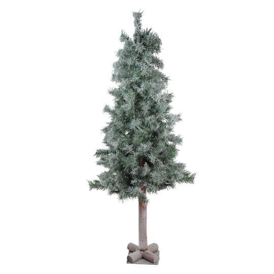 "4' x 22"" Lightly Flocked and Glittered Woodland Alpine Artificial Christmas Tree - Unlit"