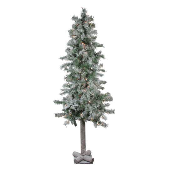 5' Lightly Flocked Glittered Woodland Alpine Artificial Christmas Tree - Clear Lights