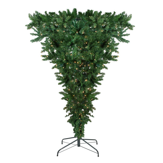 "7.5' x 60"" Pre-Lit Upside Down Spruce Artificial Christmas Tree - Clear Lights"