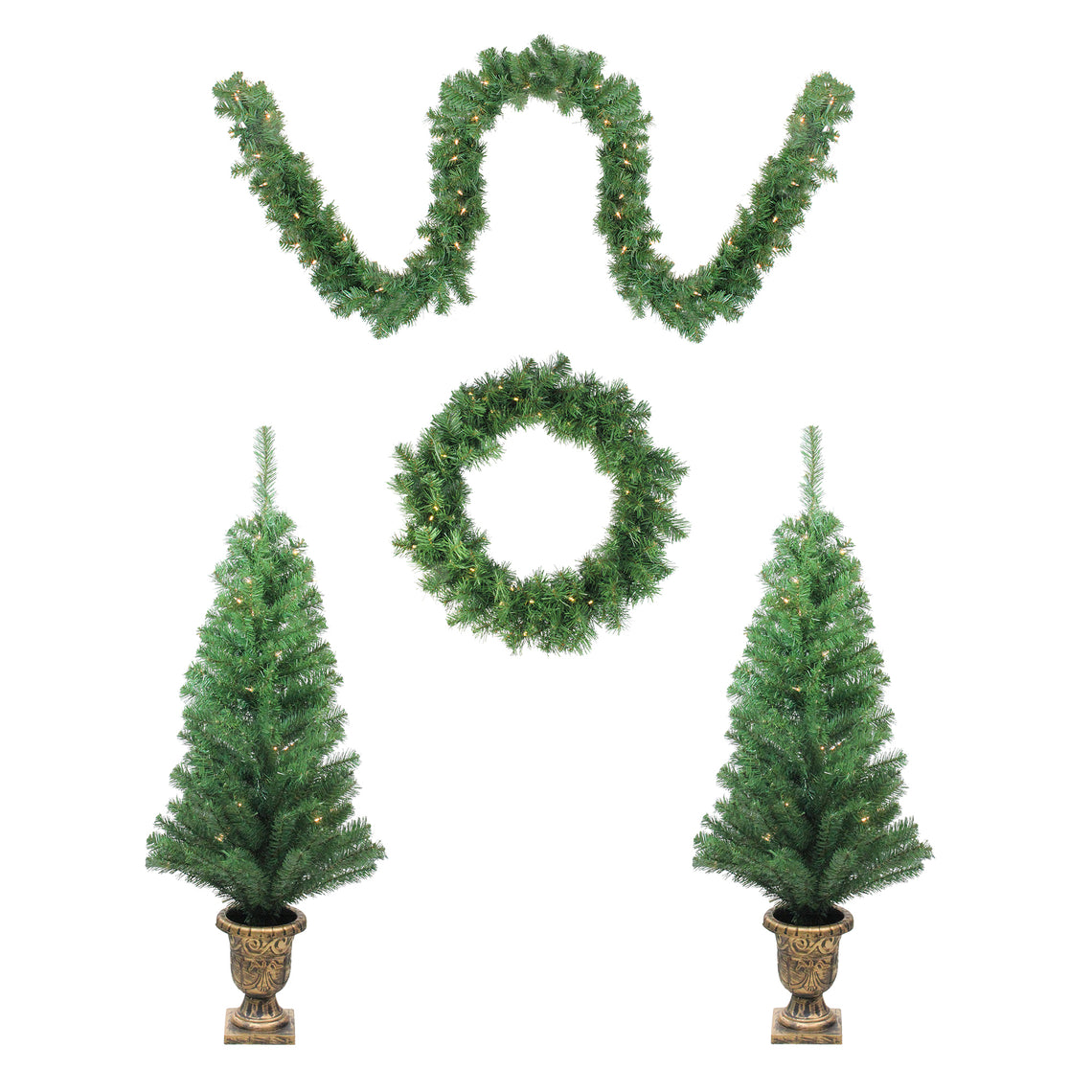 5-Piece Artificial Winter Spruce Christmas Trees  Wreath and Garland Set - Clear Lights