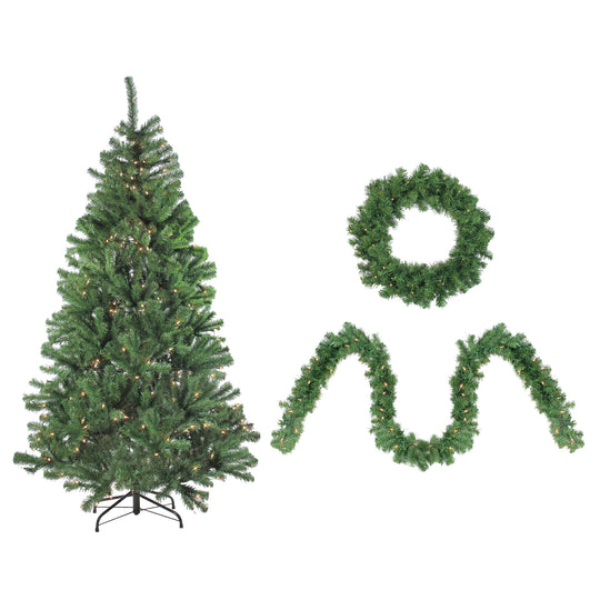 4-Piece Artificial Winter Spruce Christmas Tree  Wreath and Garland Set - Clear Lights