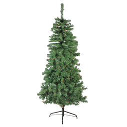 6' Pre-Lit Alberta Pine Slim Artificial Christmas Tree - Multi Lights