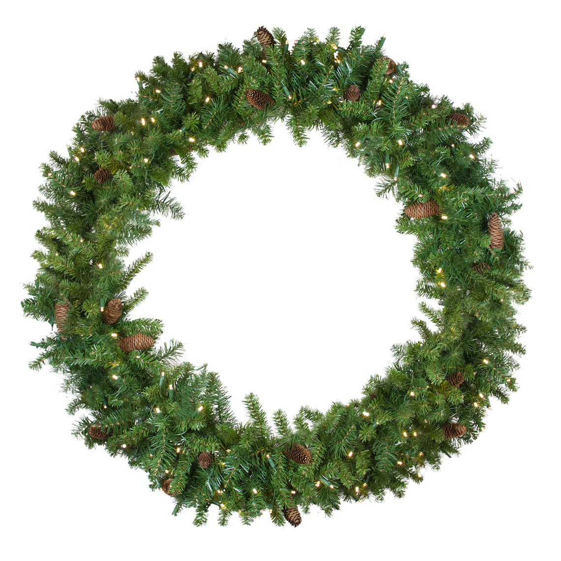 Pre-Lit Dakota Red Pine Artificial Christmas Wreath - 48-Inch  Warm White LED Lights