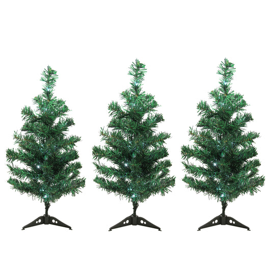Set of 3 LED Lighted Christmas Tree Driveway or Pathway Markers Outdoor Decorations