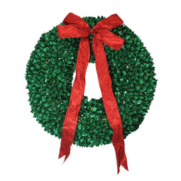 Pre-Lit Glittered Artificial Leaves Christmas Wreath - 28-Inch  Clear Lights