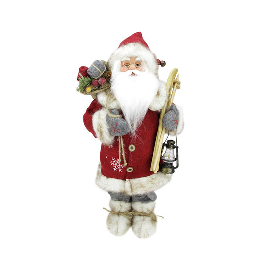 "18"" Bundled Up Standing Santa Claus Christmas Figure with Skis and Lantern"