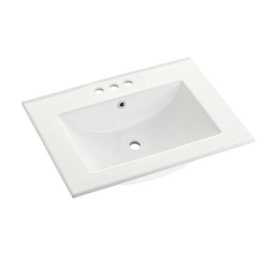 "Fauceture Ultra Modern 24"" X 18"" Ceramic Vanity Top (4"" Faucet Drillings), White"